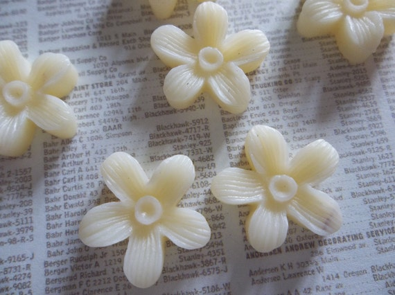 NEW: 16mm Ivory Cream Daisy Resin Flower Cameo Cabochons - Qty 6