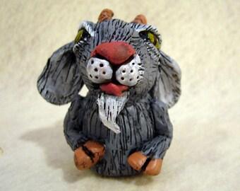 Grey Goat finger puppet, hand made, OOAK