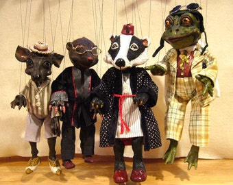 Set of Four Wind in the Willows Character Marionettes