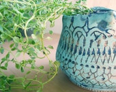 lacy blue vase or planter FREE SHIPPING
