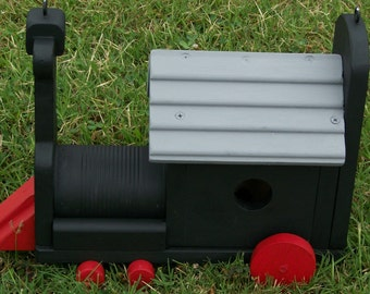 Locomotive Birdhouse  Black Red-Grey BUILT TO ORDER