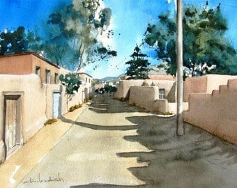 Upper Canyon Road  -  original watercolor painting
