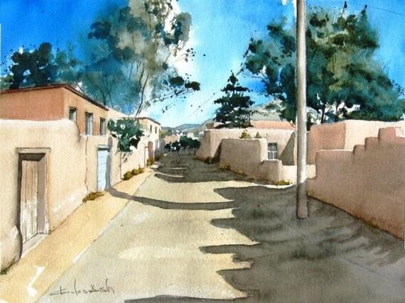 Upper Canyon Road  -  original watercolor painting