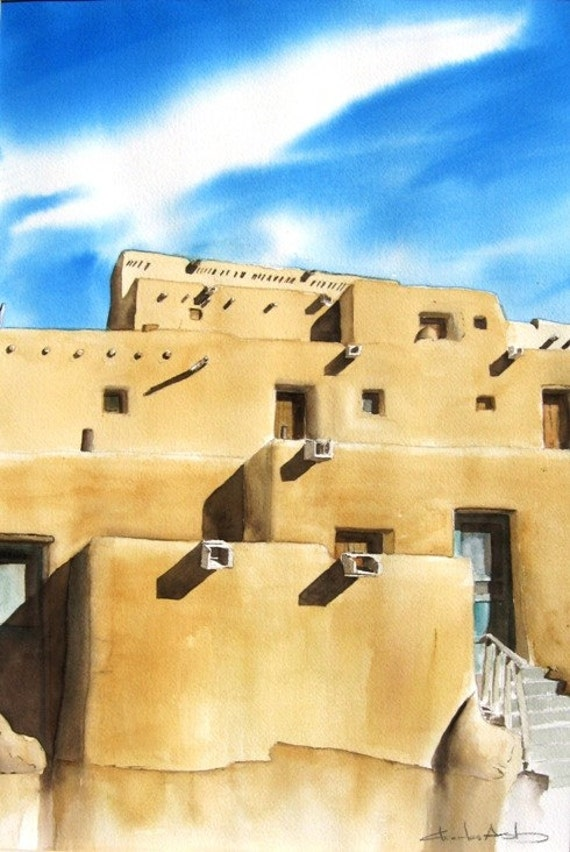Taos Pueblo -  Art Print  8 x 10