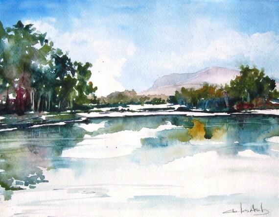High Desert Lake - Original Watercolor Painting