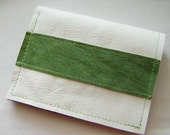 White Leather w/Green Suede Billfold Wallet
