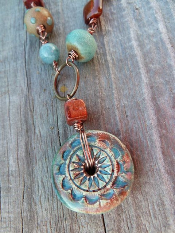 Teal Blue Green and Rust Red Sun Wheel Pendant with Ceramic and Stones