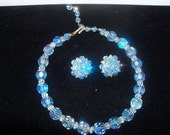 Vintage 1960 Beautiful Sky Blue Glass Bead Demi Parure