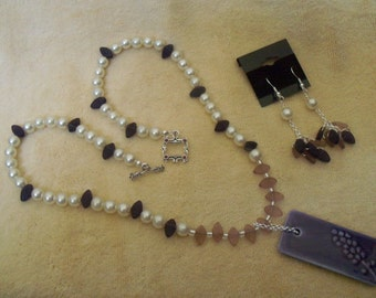 Vintage Pearls and Amethyst Glass Necklace and Earring Set