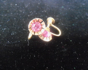 Absolutely Gorgeous Vintage 1950s Goldtone and Pink Rhinestone Screw Back Earrings