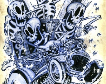 Bonemobile - signed 11X17 art print by Shawn Dickinson