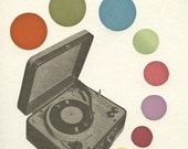 """Record Player wall art - whimsical colorful retro mid century modern adult decor humor - Pop Music. 7x9"""" collage print"""
