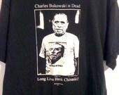 Charles Bukowski Hank Chinaski Black Tshirt Large Fruit o' the Loom screenprint