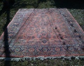 Antique Persian Rug Mahajiran Sarouk room size salmon pink very soft