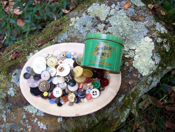 vintage buttons and tin
