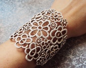 Romantic white floral lace cuff bracelet wide cuff hand painted cuff bracelet women's jewelry