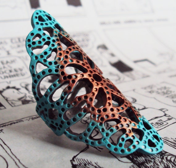 Vintage silver  lace ring turquoise ring silver ring size 7 women's jewelry hand painted jewelry turquoise and copper
