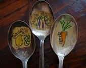 Vintage Spoon Plant Markers Custom Set of 3