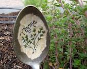 Vintage Spoon Thyme Plant Marker Garden Marker