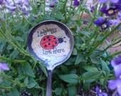Vintage Spoon Ladybug Plant Decoration