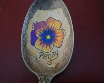 Vintage Spoon Pansy Plant Marker