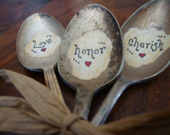 Vintage Spoon Wedding Favors Set of 3