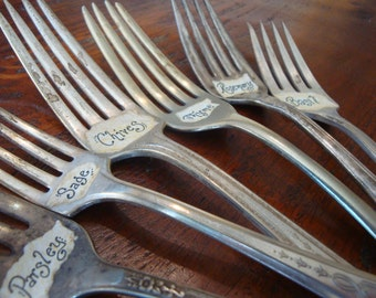Vintage Fork Plant Markers Custom Set of 6