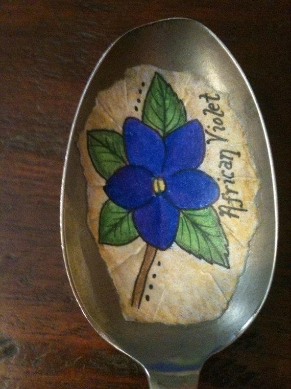 Vintage Spoon African Violet Plant Marker