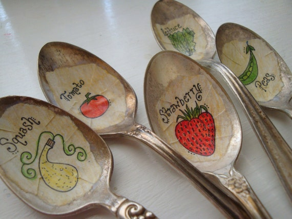 Vintage Spoon Plant Garden Markers Custom Set of 5 Vegetables and Herbs
