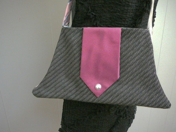 SALE - Ladies Who Lunch upcycled bag with vintage necktie straps
