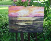 watercolor/acrylic painting of October sunset with purple/yellow/pink sky