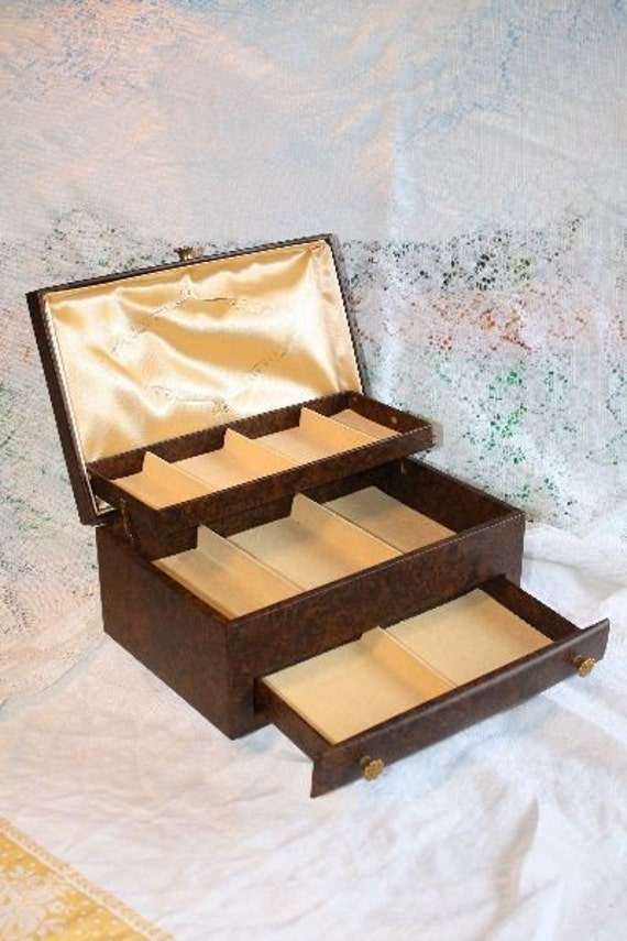 Vintage Buxton Jewelry Box in brown - Satin and Velvet Lining with compact mirror/beads/lighter and costume jewelry included