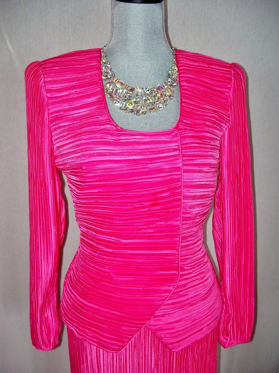 RESERVED Stunning George F Couture NY 80s Hot Pink Skirt Suit 8