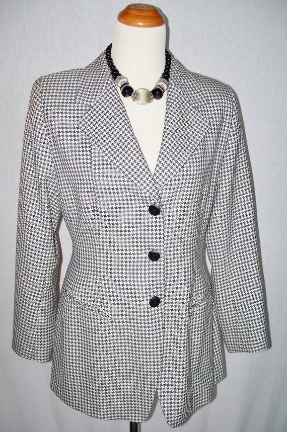 Vintage Escada Blazer Jacket Navy White Check Size M