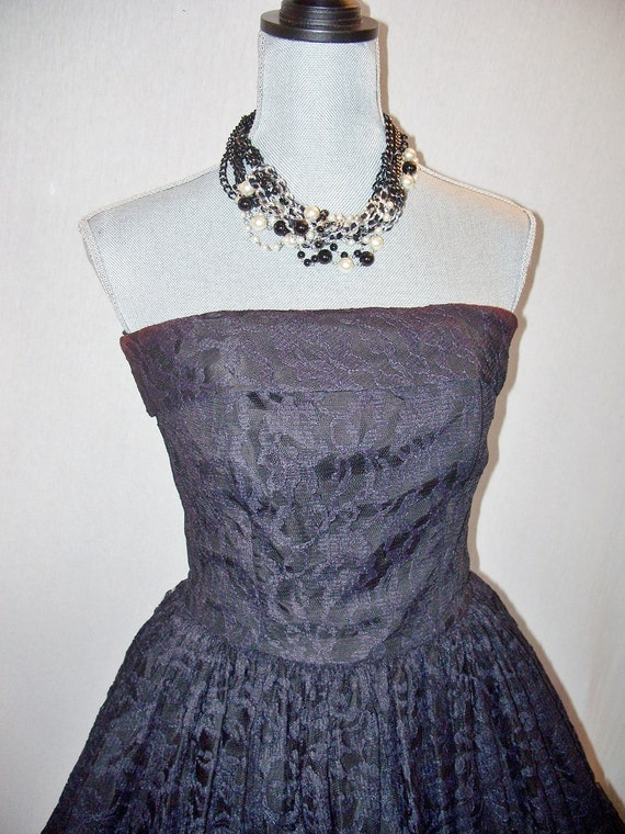Vintage Expo 80s Lace Strapless Mini Dress Sz 7/8