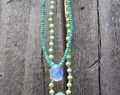 persian turquoise and sea opal babushka necklace series number 01