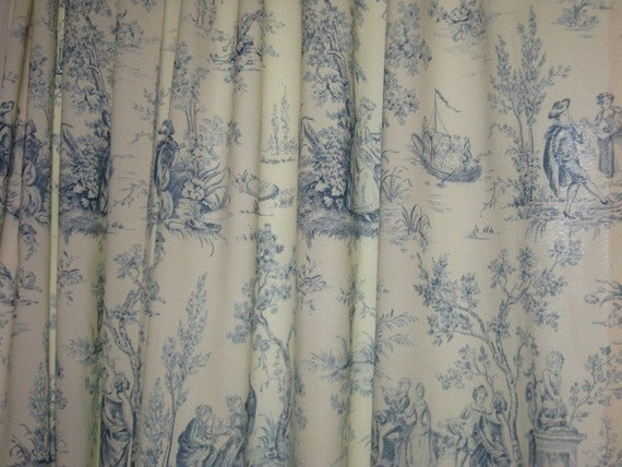 Blue And Ivory Toile Curtain Panel Pair 60 X 84 Each
