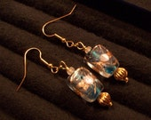 Turquoise White and Gold Lampwork Beaded Dangle Earrings