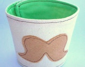 Eco Friendly Reusable Drink Sleeve, Coffee cozy. Mustache