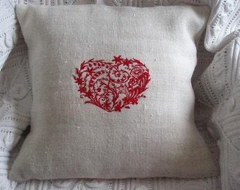 Vintage French Hemp Embroidered Heart Cushion Cover Different Colours Available