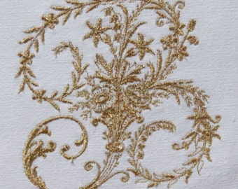 Vintage French Linen Monogram Personalized Embroidered Cushion Cover Any Initial Gold or Silver