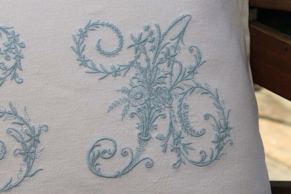 Vintage French Metis Linen Embroidered Double Monogrammed Personalized Cushion Pillow Cover Different Colours And Initials Available