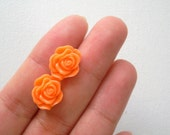 spring orange flower stud earrings, resin rose cabochon with surgical steel
