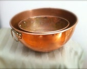 Two Vintage Copper Nesting Mixing Bowls