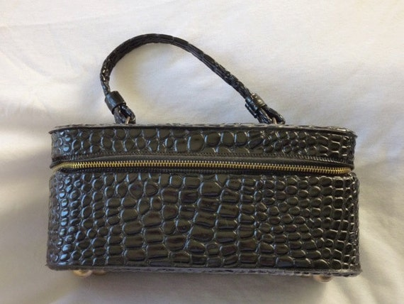 Vintage Travel Make-up Zippered Make-up case with Handle faux black croco