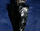 Gigantic Black Obsidian and Sterling Swirl ArrowHead Pendant