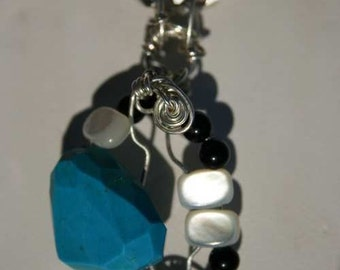 Knapped Turquoise Mother of Pearl and Black Onyx Pendant hand wrapped in Sterling Silver