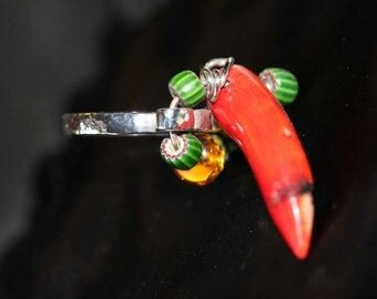 Flip Your The Bird- Red Coral Bird Head Ring Sculpted in Embossed Sterling Silver SIZE 8.5