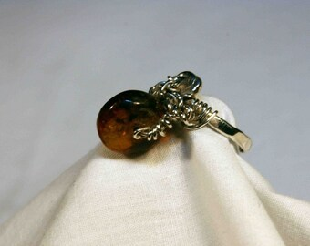 Tiny Amber Wheel Ring with Intricate Sterling Silver Wire Work  SIZE  6