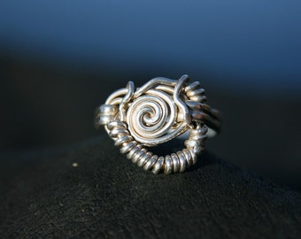 Sterling Coil and Spin Ring Embossed Double Banded Ring Shank Size 10